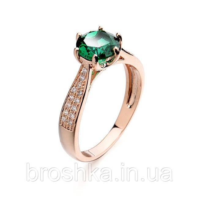 Позолоченное кольцо бижутерия с зелеными Swarovski