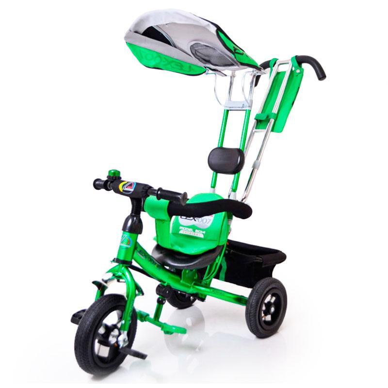 Трех-колесный Велосипед с родительской ручкой Lex-007 (10/8 AIR wheels) Green