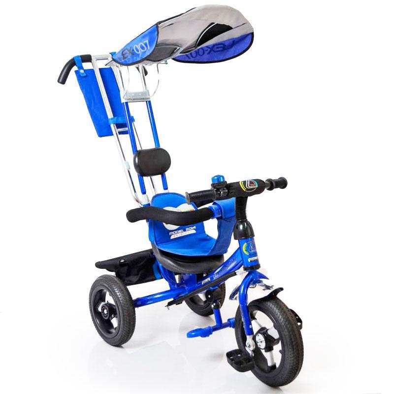 Велосипед трехколесный с родительской ручкой Lex-007 (12/10 AIR wheels) Blue