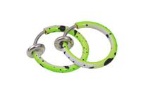 Cерьга кольцо обманка 10мм для пирсинга экзотик салатово-белый(носа,ушей,губ) с фиксатором