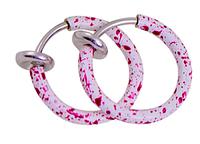 Cерьга кольцо обманка 10мм для пирсинга экзотик бело-розовый (носа,ушей,губ) с фиксатором