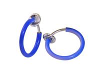 Cерьга кольцо обманка 10мм для пирсинга экзотик голубой (носа,ушей,губ) с фиксатором