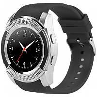 Розумні смарт годинник телефон Bluetooth microSD Smart Watch Phone V8 Срібло