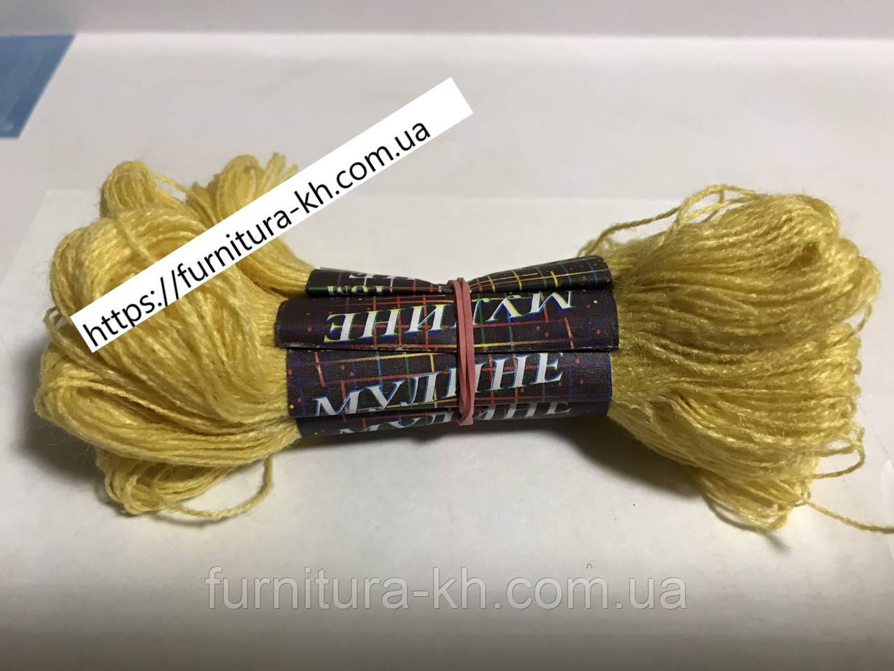 Нитки Мулине Акрил (10 шт-по 18 м) цвет Бледно-Желтый
