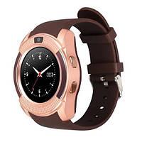 Розумні смарт годинник телефон Bluetooth microSD Smart Watch Phone V8 Золото