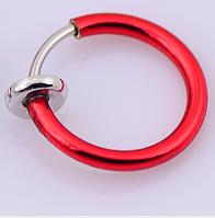Cерьга кольцо обманка для пирсинга красный (носа,ушей,губ) с фиксатором, фото 1