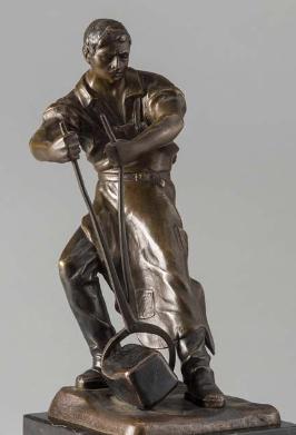 Металург  Е.Saalmann нач.ХХ века бронза Сталевар, фото 2