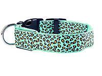 Светящийся светодиодный ошейник для собак Леопард L 45-52см Зеленый