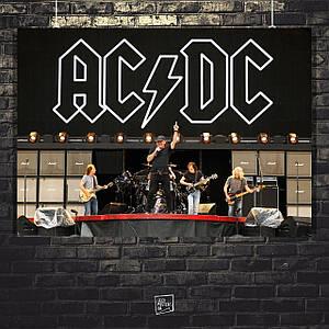 Постер AC/DC на сцене под логотипом. Размер 60x42см (A2). Глянцевая бумага