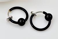 Cерьга кольцо обманка для пирсинга черный (носа,ушей,губ) с фиксатором, фото 1