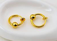 Cерьга кольцо обманка для пирсинга золотистый(носа,ушей,губ) с фиксатором, фото 1