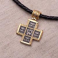 Серебряный крест «Господь Вседержитель. Великомученик Пантелеимон со сценами жития»