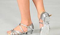 Бальные серебряные туфли для девочек с пряжками, фото 1