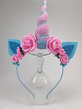 Обруч Единорог Украшение для волос розово-голубой ободок единорог розовый с голубым