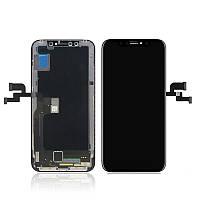 Дисплей (экран) для iPhone X + тачскрин, черный, копия высокого качества, change glass
