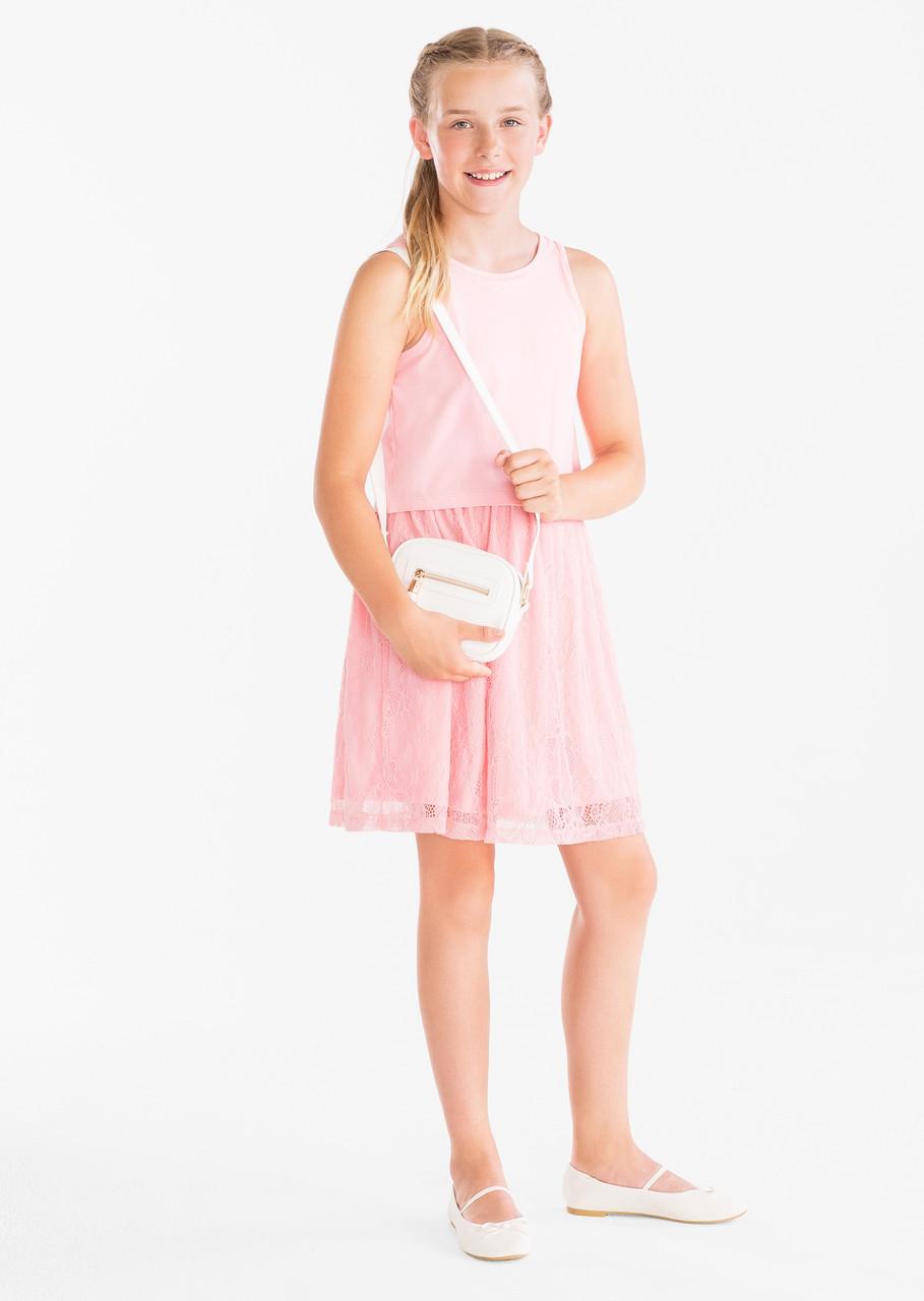 Нарядное розовое платье с кружевом для девочки C&A Германия Размер 146-152