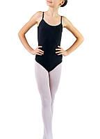 Детский купальник для хореографии на бретелях Dance&Sport N011 хлопок черный