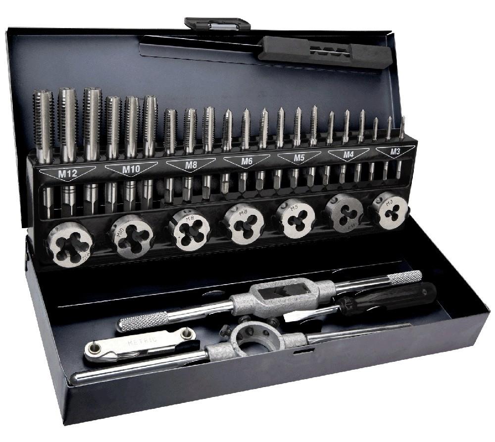 Плашки и метчики TOPEX, M3 - M12, набор 32 шт.