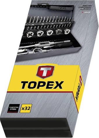 Плашки и метчики TOPEX, M3 - M12, набор 32 шт., фото 2