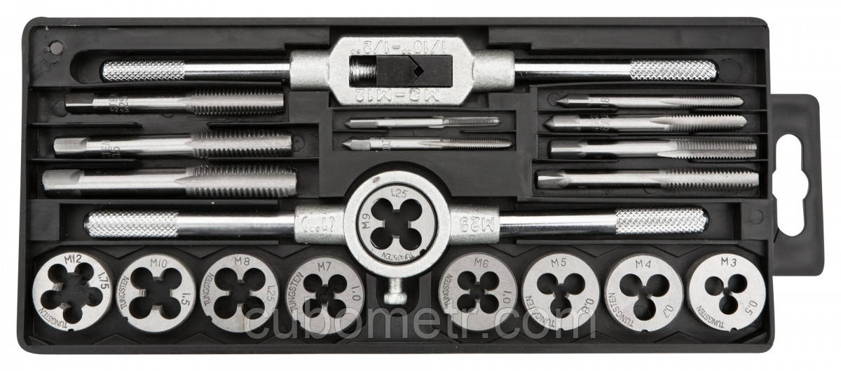 Плашки и метчики TOPEX, M3 - M12, набор 20 шт. * 1 уп.