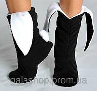 Тапочки зайчики черно - белые, тапочки с ушками. Прикольные домашние тапочки. Размеры: 34, 35, 36, 37, 38.