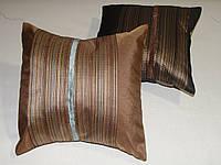 Подушка  Полоска светло коричнева,  25х25