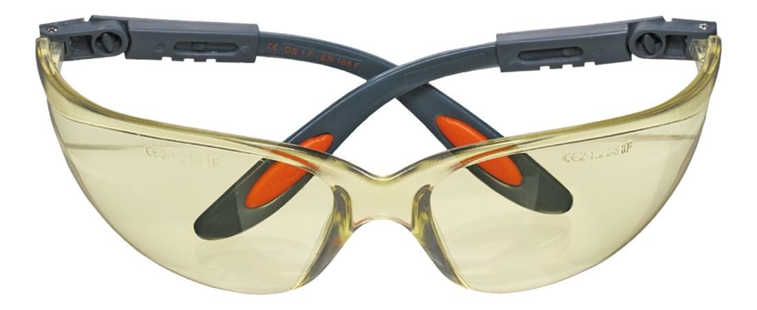 Очки NEO защитные противоосколочные из поликарбоната, желтые линзы, регулировка длины и угла дужек, стойкие к царапинам, CE