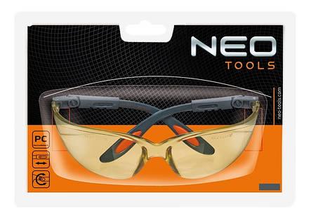 Очки NEO защитные противоосколочные из поликарбоната, желтые линзы, регулировка длины и угла дужек, стойкие к царапинам, CE, фото 2