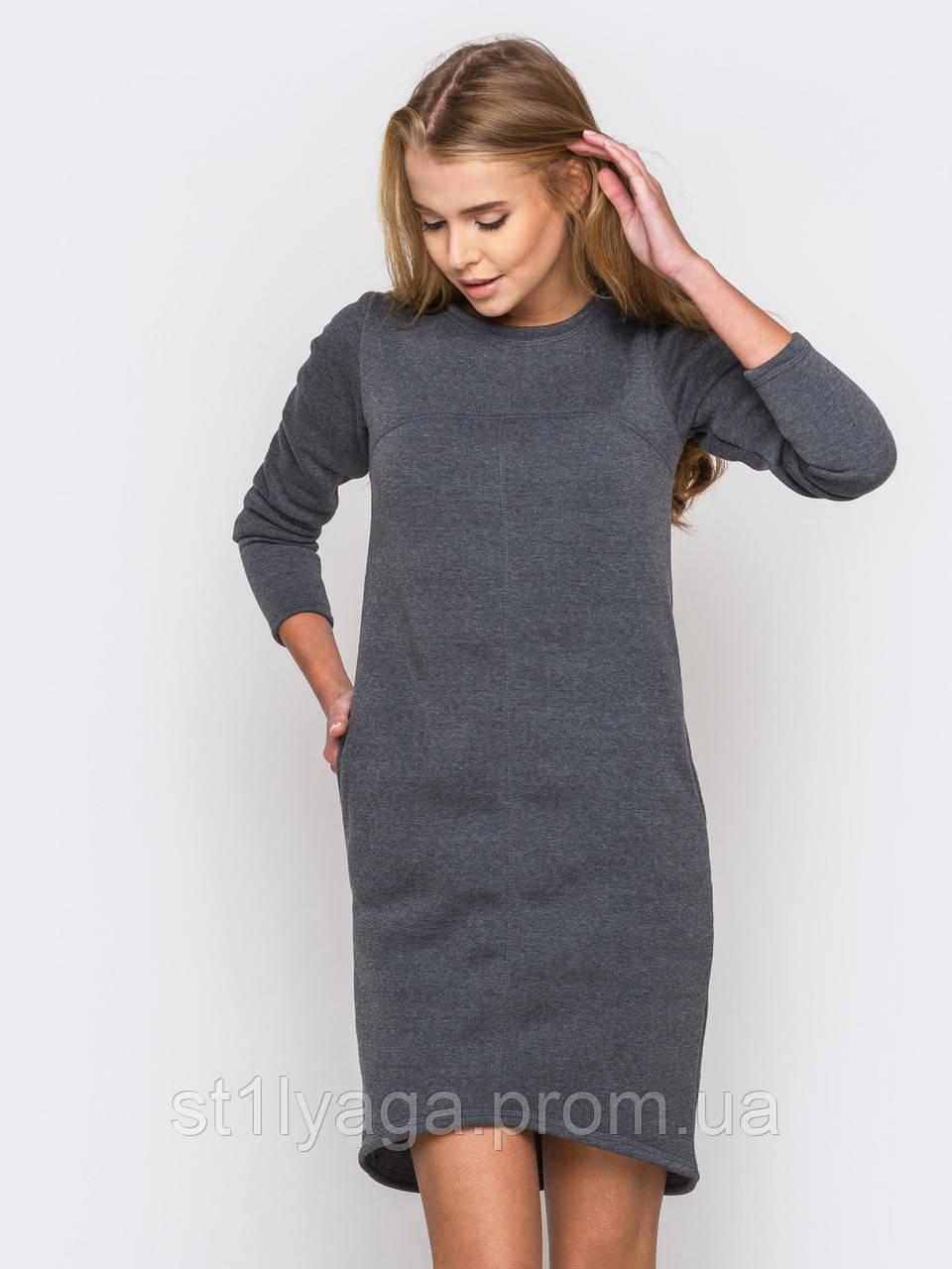 Сукня трикотажне на флісі з подовженою спинкою і бічними кишенями ОСІНЬ-ЗИМА