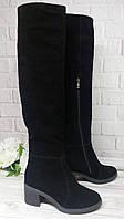 Замшевые черные ботфорты на толстом каблуке, фото 1