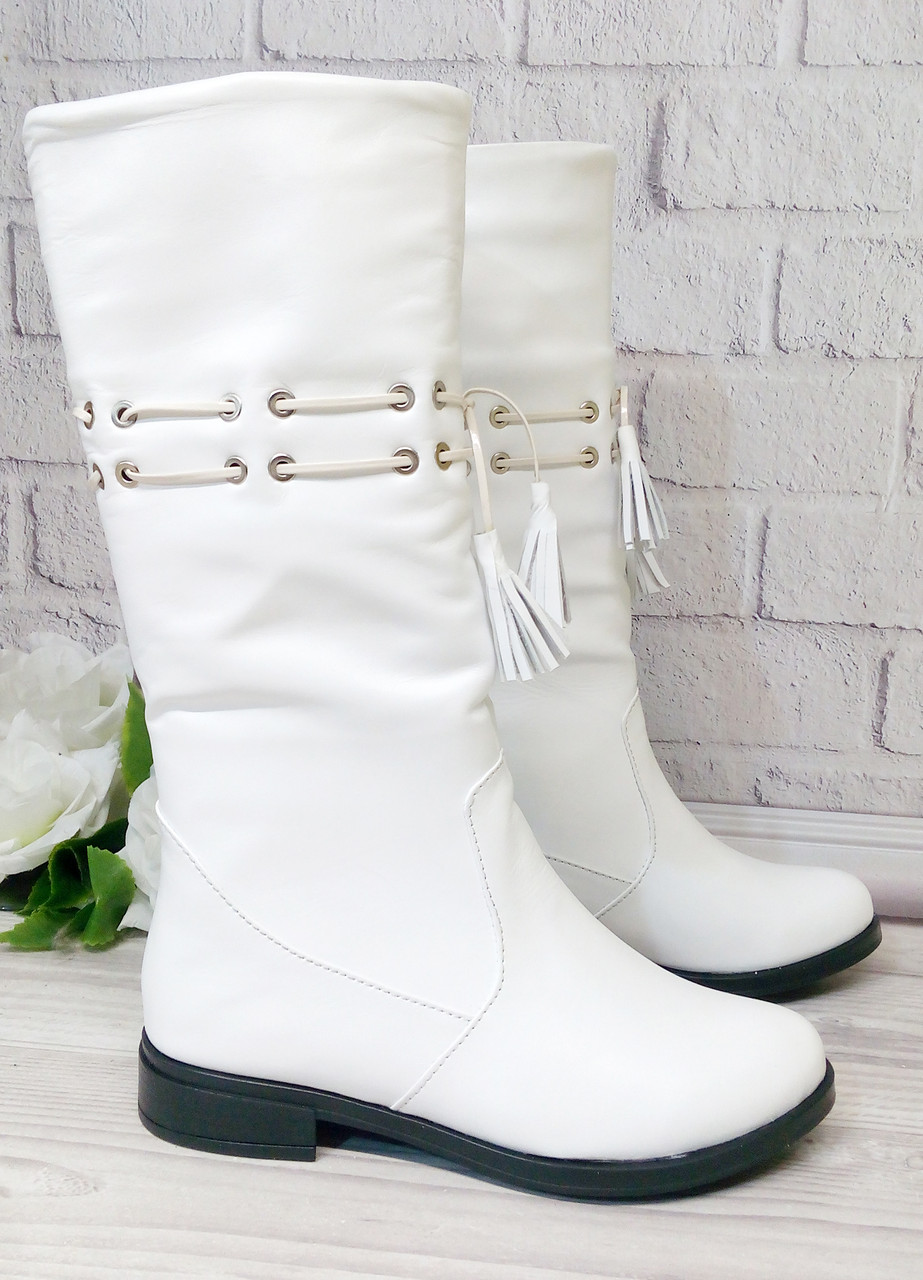 Белые кожаные сапоги оптом, фабричная обувь, цена 1 071 грн., купить ... 1b74f15b044