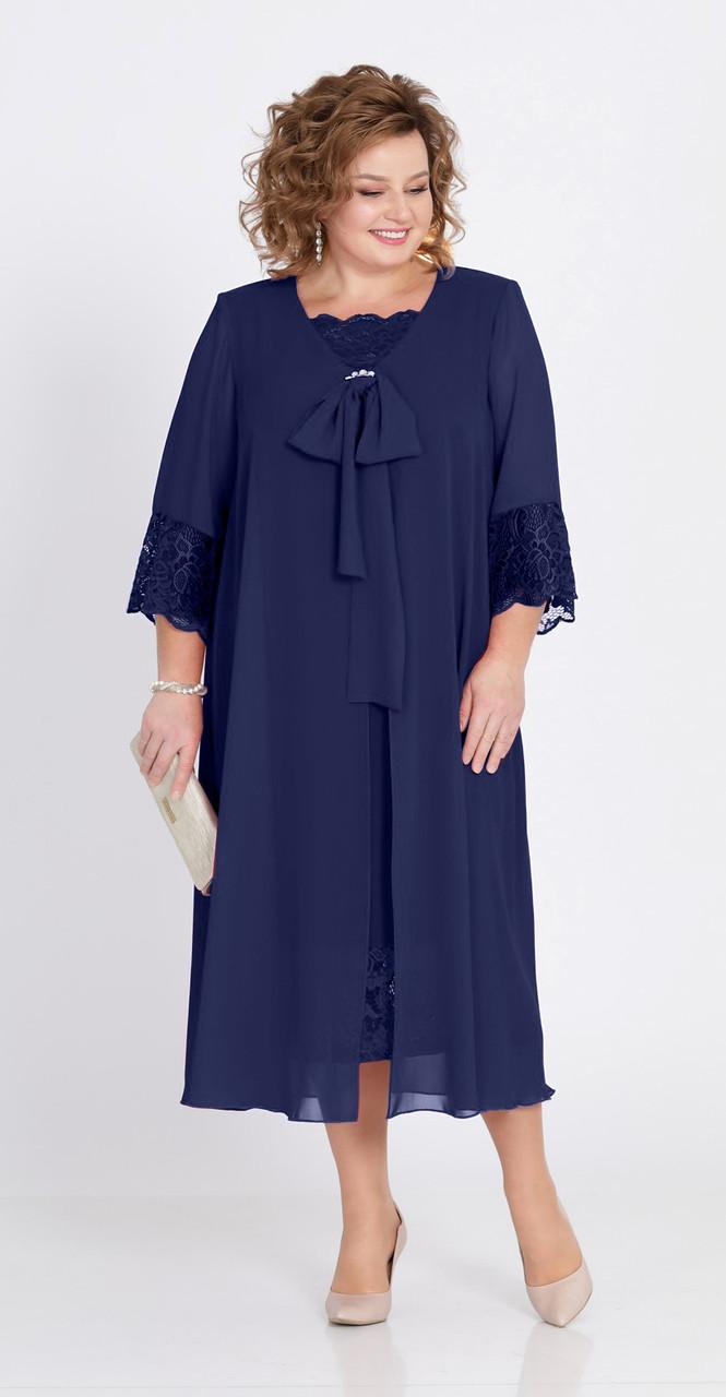Платье Pretty-802/4 белорусский трикотаж, темно-синий, 56