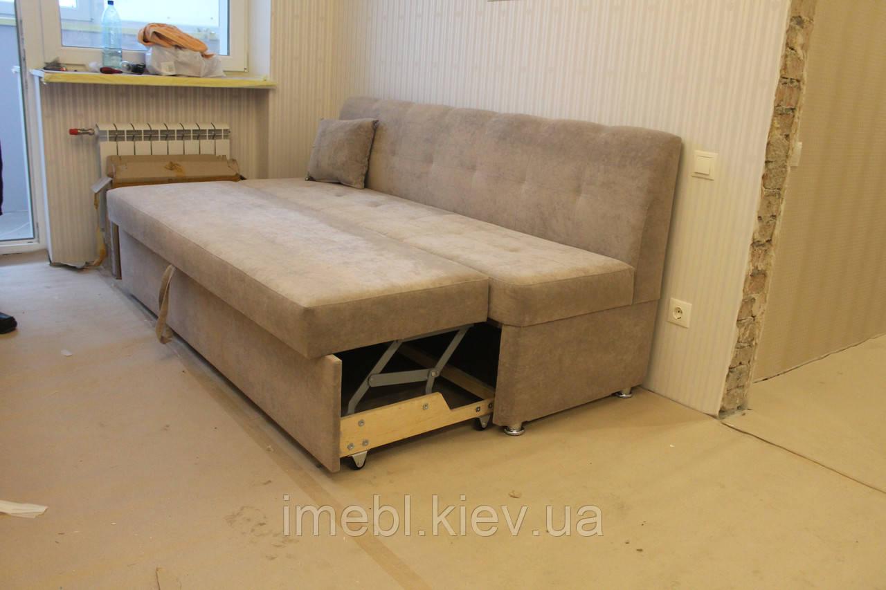 Мягкая кухонная лавочка со спальным местом (Серая)