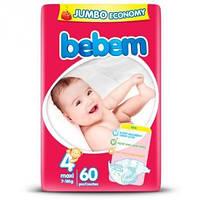 """Подгузники детские Bebem """"4"""" Maxi 7-18 Кг JUMBO PACK 60 шт"""