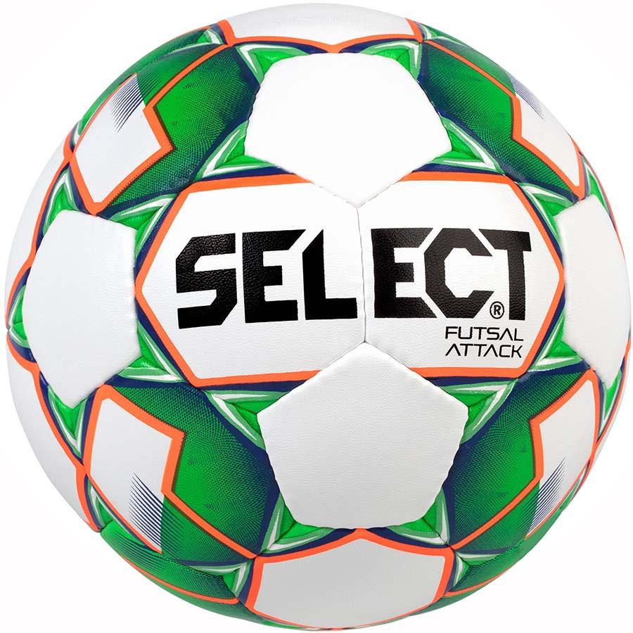 Мяч футзальный мини-футбольный Select Futsal Attack New бело-зеленый, р. 4, не ламинированный, низкий отскок