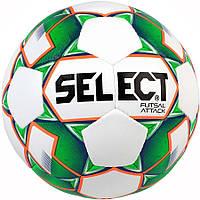 Мяч футзальный мини-футбольный Select Futsal Attack New бело-зеленый, р. 4, не ламинированный, низкий отскок, фото 1