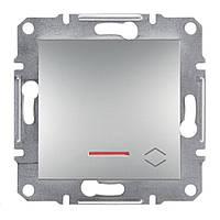 Переключатель одноклавишный с подсветкой Asfora Schneider алюминий EPH1500161
