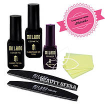Промо-набор  Гель лак Milano+Безворсовые салфетки+Base&Top