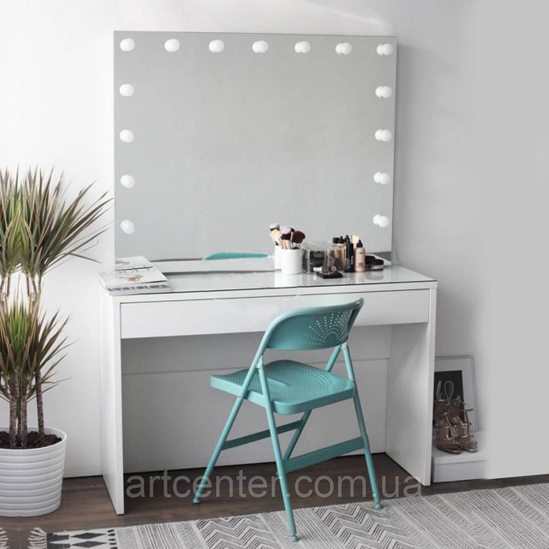 Классический гримерный стол, туалетный стол с гримерным зеркалом, стол визажиста