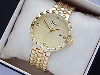 Наручные часы Christian Dior золотого цвета с золотистым циферблатом и датой