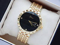 Наручные часы Christian Dior золотого цвета с черным циферблатом и датой, фото 1