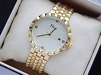 Наручний годинник Christian Dior золотого кольору з білим циферблатом і датою, фото 1