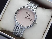 Наручний годинник Christian Dior сріблястого кольору зі світло-рожевим циферблатом і датою, фото 1