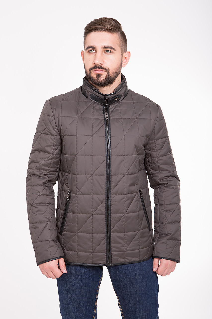 Куртка мужская демисезонная на синтепоне CW14MC01 серо-коричневая