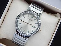 Наручные часы Swarovski серебристого цвета, серебряный циферблат и дата, фото 1