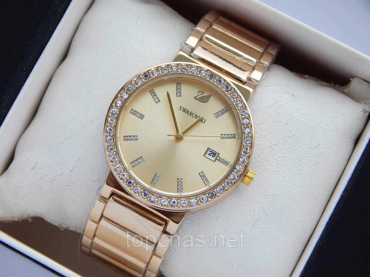 9a3cd181 Наручные часы Swarovski золотого цвета, золотистый циферблат и дата - Top  Chas - Интернет магазин