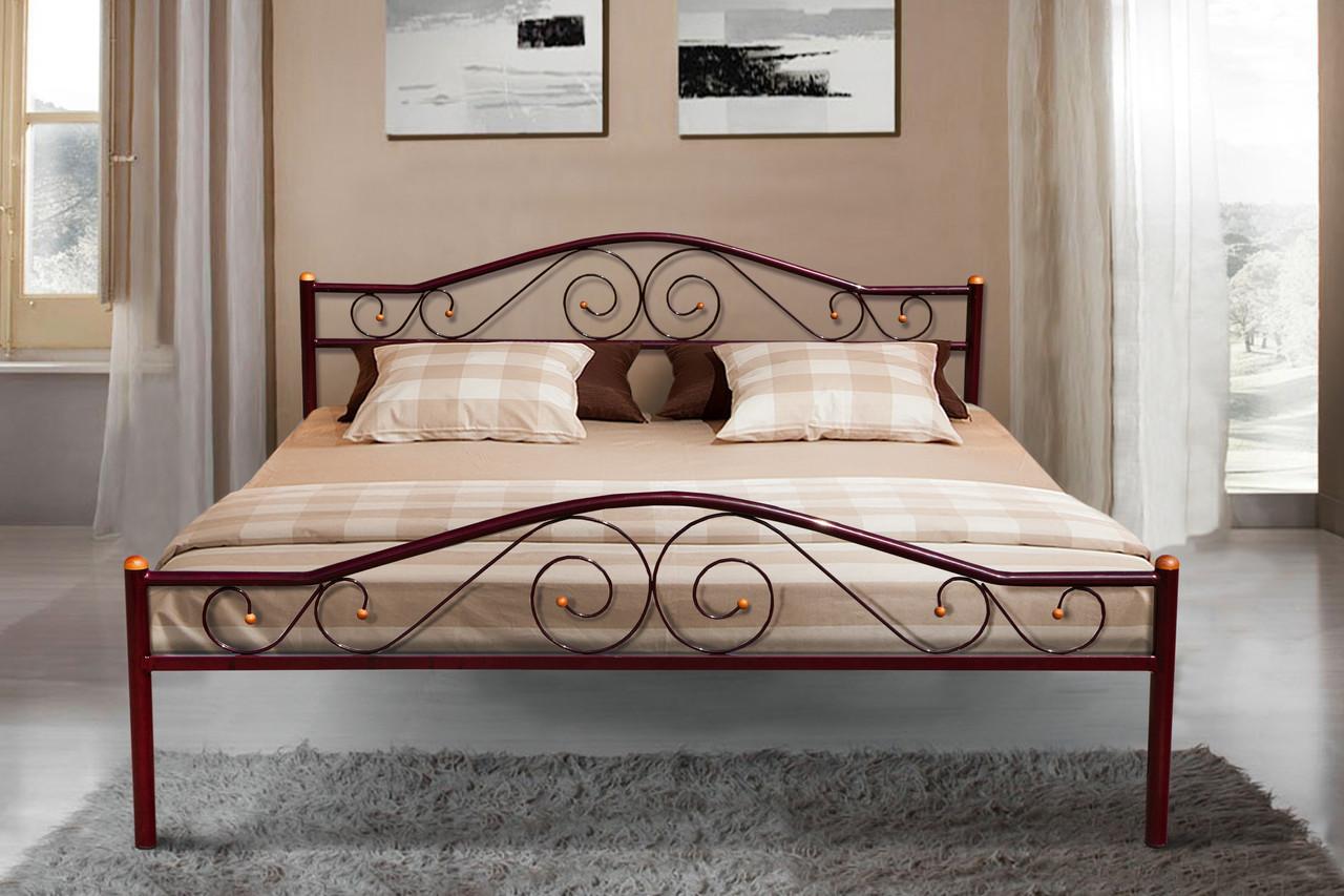 Кровать металлическая -Респект Вуд (бордо)1600*2000м