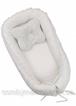 Дитяча подушка позиціонер кокон Twins Ажур Білий