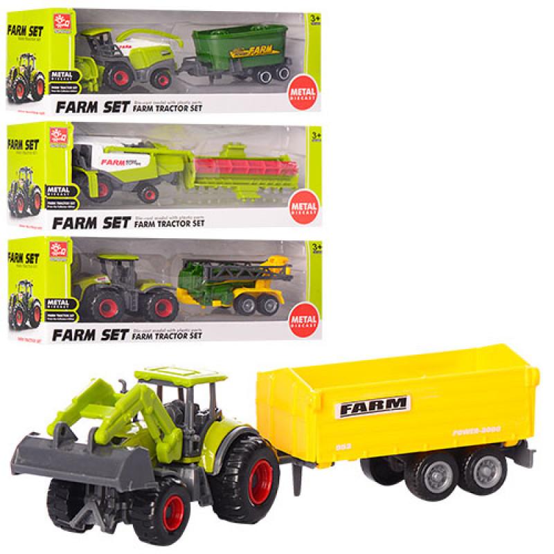 Трактор SQ82002-2, металевий, з причепом, рухомі деталі, 4 види, в коробці, 21-7,5-5,5 см