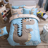 Комплект хлопкового постельного белья для мальчика  Маленький Динозавр (двуспальный-евро)